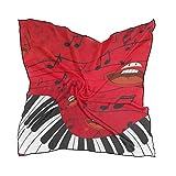 QMIN - Bufanda cuadrada de seda, notas musicales, diseño de piano y emoticonos de moda, ligera, para el cabello, pañuelos para el cuello, para mujer, 60 x 60 cm