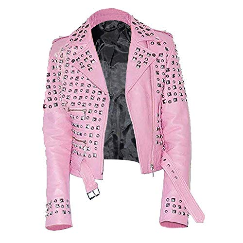 Damen Vegan Billie Fashion Gothic Punk Gürtel Nieten Perfekt Formend Rosa Leder Biker Jacke - Pink - 50/XXL