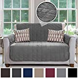 Gorilla Grip Original Velvet Slip Resistant Luxurious Loveseat Slipcover Protector, Seat Width Up to 54 Inch Patent Pending, 2 Inch Straps, Hook, Sofa Furniture Cover for Pets, Kids, Love Seat, Gray