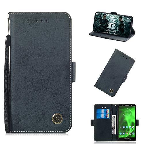 Moto G6 Hülle (5.7 Zoll), Premium Leder Handyhülle Flip Schutzhülle für Motorola Moto G6 Tasche (Schwarz)