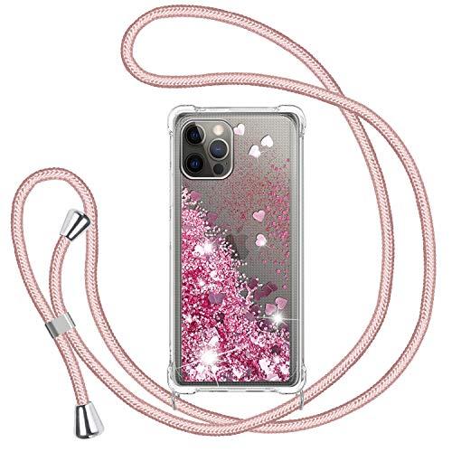 TUUT Funda Glitter Liquida con Cuerda para iPhone 12/iPhone 12 Pro 6.1'',...