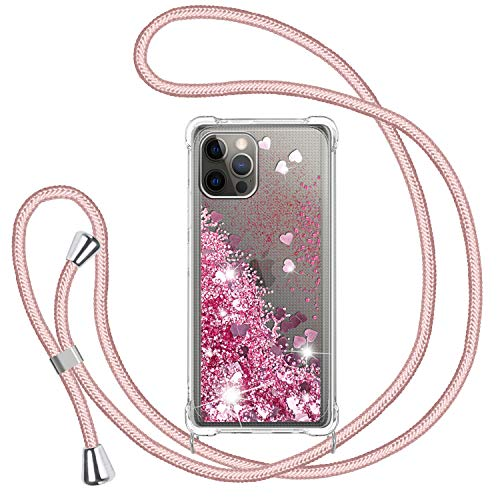 TUUT Funda Glitter Liquida con Cuerda para iPhone 12/12 Pro 6.1'', Glitter Cristal Suave Silicona TPU Bumper Protector Carcasa, Brillante Arena Movediza con Colgante Ajustable Cordón Case-Rosa