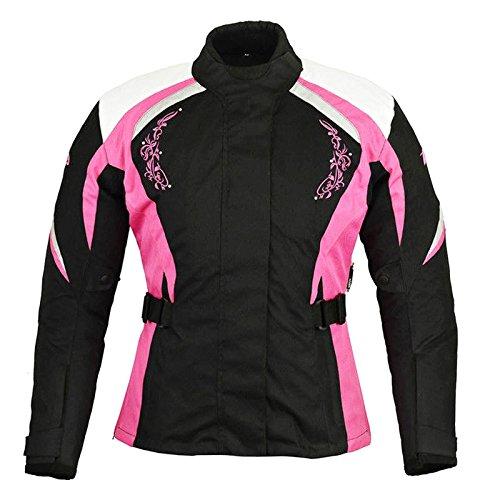 Frauen Motorradjacke - Damen Motorrad gepanzerte Textil Cordura wasserdichte Jacke Mantel - Pink mit rosa Blume - 4XL