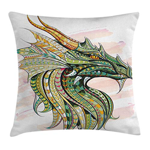 Ambesonne Celtic Throw Pillow Cushion Cover, Head of Dragon with Ornate Effects on Grunge Backdrop Mythical, Decorative Square Accent Pillow Case, 16' X 16', White Green