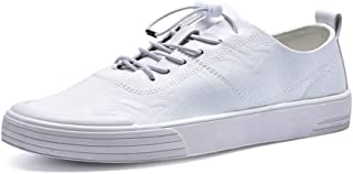 XUJW-Shoes, Fashion Sneaker for Men Sports Shoes Lace Up Style Microfiber Leather Soft Round Toe Simple Solid Colors Lightweight Durable Comfortable Walking (Color : White, Size : 7 UK)