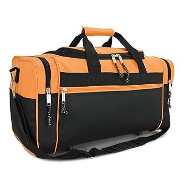 DALIX 19  Blank Sports Duffle Bag Gym Bag Travel Duffel with Adjustable Strap in Orange