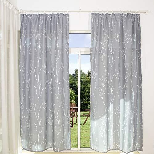 Gardinen Schals mit Kräuselband Halbtransparente Vorhänge für Schiene Grau Vorhang mit Äste Motiv Wohnzimmer Schlafzimmer Bree (2er-Set, je 175x135cm)