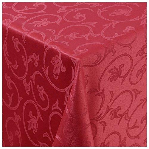 MODERNO Tischdecke Stoff Damast Barock Jacquard Ranken Design mit Saum eckig 130x250 cm Wein-Rot