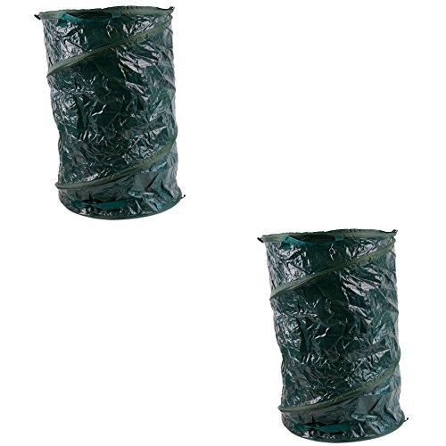 2 x Gartenabfalltonne Pop Up faltbarer Gartensack 120 Liter Laubsack aus stabilen Oxford Nylon bis 50 Kilo (2 Stück)
