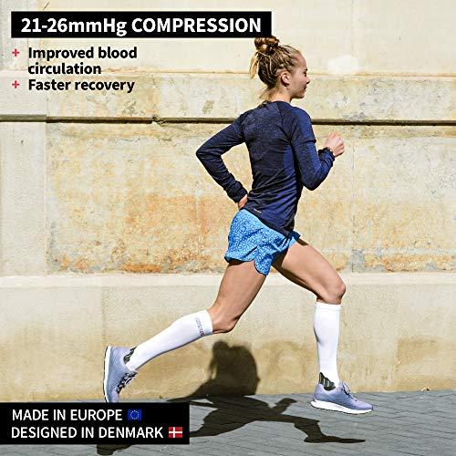 Graduated Compression Socks 2 Pack, for Women, Men, Shin Splints, Nurse, Flights (Multicolour: Black, White, EU 43-47 // UK 9-12)
