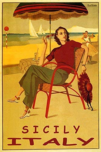 """SICILY ITALY FASHION LADY GIRL BEACH DANCE SAILBOAT VACATION TRAVEL 12"""" X 16"""" VINTAGE POSTER REPRO MATTE PAPER WE HAVE OTHER SIZES"""