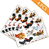 BJOLEdS Chicken Breed Collection Placemats Hand Drawn Watercolor Farm Hen Rooster Decorative Heat Resistant Non-Slip Washable PVC Kitchen Table Mats Woven Vinyl Place Mats Set of 4 12'x18'