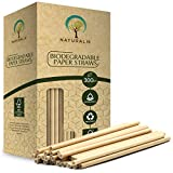 """Naturalik 300/1000-Pack Biodegradable Paper Straws Extra Durable Dye-Free- Eco-Friendly Sturdy Paper Straws Bulk- Drinking Straws for Smoothies, Restaurants and Party Decorations 7.7"""" (300 pcs, Brown)"""