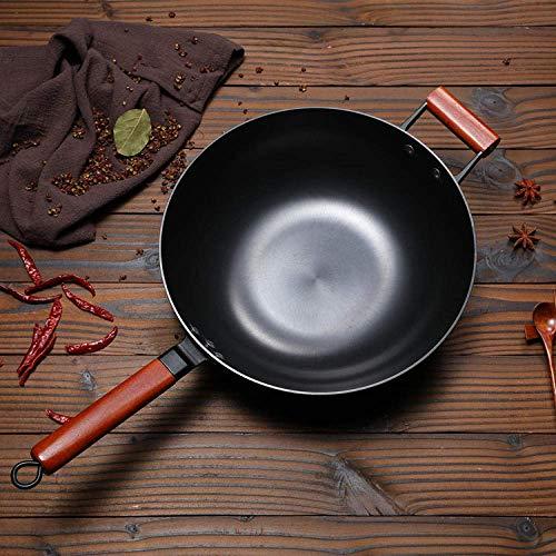Pan pot set zonder deksel, Pan met deksel (non-stick pan), Oude stijl gietijzeren pan, ongestreken non-stick fornuis, universele gietijzeren wok-Single pot_34cm, Compatibel met alle inductiekookplaten