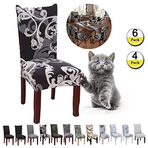 JunYito Stuhlhussen 4er 6er Elastische Set Stuhlhussen Universal Stretchhusse Stuhlbezug Stretch für Stuhl Esszimmer (E-Schwarz/Braune Blume, 4 Stücke)