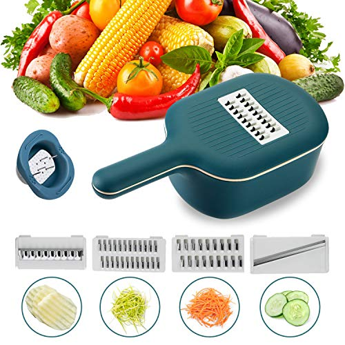 WOONEY Mandoline Slicer Vegetables Chopper Cheese Graters with Drain Basket and 4 Stainless Steel Interchangeable Blades for Cabbage Carrot Potato Fruits Cheese