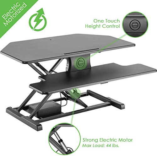 AdvanceUp 37.4' 2-Tier Electric Corner Standing Desk Converter Riser, Motorized Height Adjustable Ergonomic Stand Up...