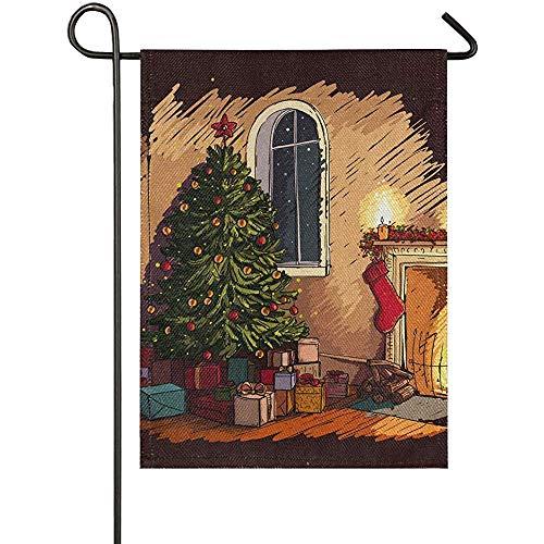 KL Decor Huis Yard Vlaggen, Gezellige Kerstavond Scene In Het Interieur Met Open Haard Boom En Presenten Tweezijdig Gedrukte Familie Vlaggen Voor Achtertuin Gazon Tuin
