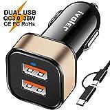ivoler Quick Charge 3.0 Chargeur de Voiture 36W Allume Cigare avec 2 en 1 Micro USB C pour Samsung, Sony, HTC, LG, ASUS, Nexus,...