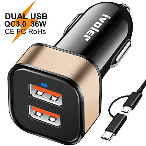 ivoler Quick Charge 3.0 Chargeur de Voiture 36W Allume Cigare avec 2 en 1 Micro USB C pour Samsung, Sony, HTC, LG, ASUS, Nexus, Huawei, Lumia,Oneplus,Xiaomi, iPhone, iPad etc- Noir/Or