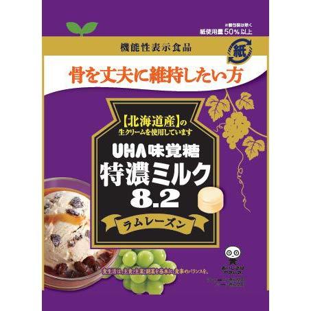 UHA味覚糖 機能性表示食品 特濃ミルク8.2 ラムレーズン 93g×72個入り (1ケース)
