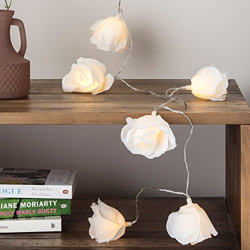 Lights4fun 20 LED Cream Rose Flower Indoor Fairy Lights