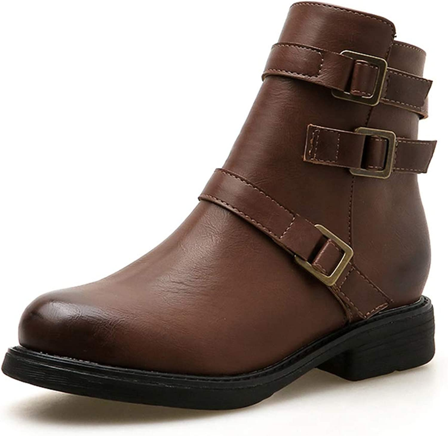Retro Buckle Strap Ankle Boots Side Zipper Round Toe Square Heel Flats PU Leather Chelsea Booties