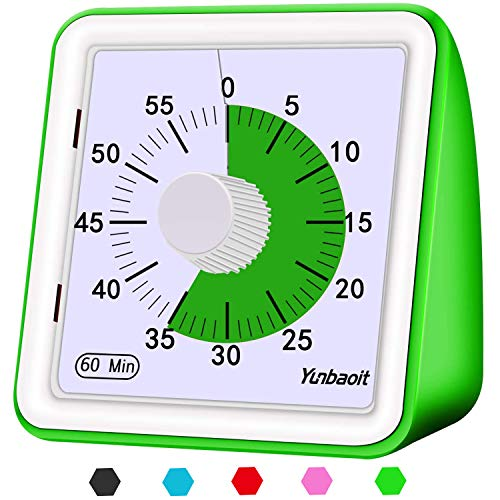 Yunbaoit Visual Analog Timer,Countdown Clock,No Loud Ticking,Time Management Tool for Kids and Adults(Green)