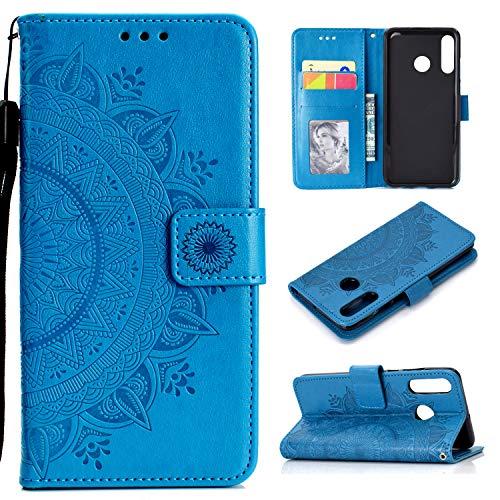 HTDELEC Custodia Huawei P30 Lite Blu Premium Pu Portafoglio Protettiva in Pelle Anti-Slip Slot Portafoglio Flip Protettivo Dell'ente Completo Slim Fit Cover(T-Blu)