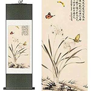 Features Chinese Style Silk Chinese Watercolor Flower Narcissus and Daffodils Birds Butterfly Ink Art Canvas Wall Picture Framed Damask Scroll Painting 100X30CM