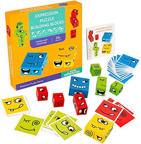 Sirecal Cubi da costruzione Expression Puzzle, Cambia Faccia Cubo Building Block Espressione Puzzle Montessori, divertente cubi puzzle emoji, gioco di abbinamento emoji per rompicapo di pensiero