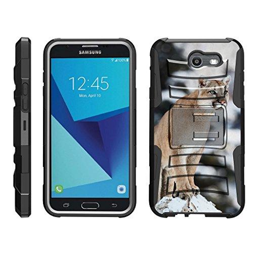 TurtleArmor   Compatible with Samsung Galaxy J7 2017 Case   J7 Prime   J7 Sky Pro [Hyper Shock] Hard Dual Layer Hybrid Rugged Belt Clip Holster Kickstand Case Animal - Mountain Cougar