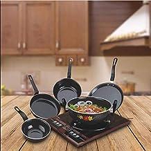 A One Gallery Cookware Set/Induction Base Cookware/Non-Stick Cookware Set/Kadhai/Tawa/Frypan/Tadka/Sauce Pan/(Black) - 5 P...