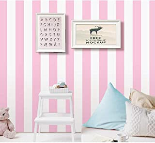 PoetryHome Self Adhesive Vinyl Pink Stripe Contact Paper Peel and Stick Wallpaper for Walls Nursery Girls Bedroom 17.7x117 Inches