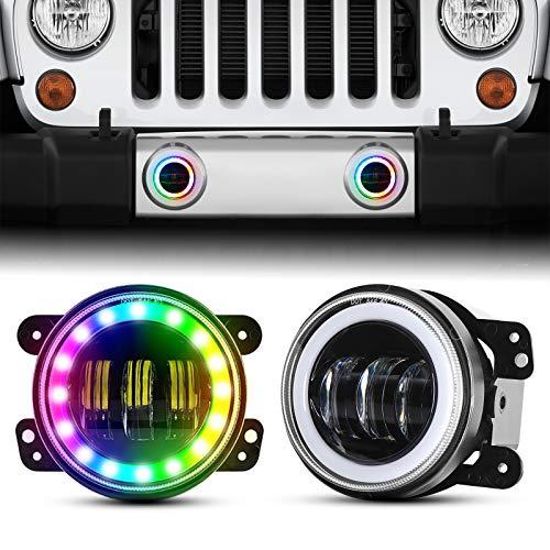 4 Inch LED Fog Lights Compatible with Wrangler, Fog lights with RGB Halo Angel Eyes for Wrangler JK Led Fog Lamps Bulb…
