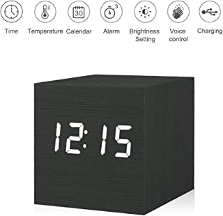 Kpin Digital Alarm Clock, Wooden LED Light Mini Modern Cube Desk Alarm Clock Displays Time Date Temperature for Kids, Bedrooms, Home, Dormitory, Travel