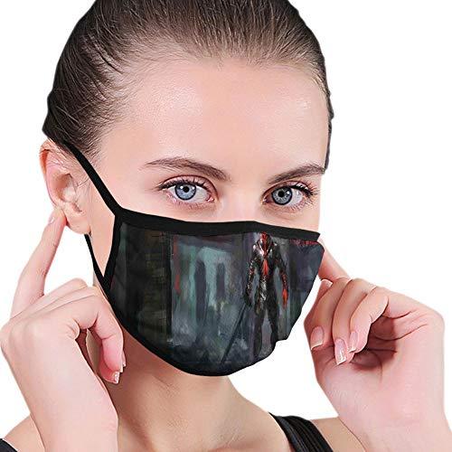 LESKETH Mode 3D gedruckte Gesichtsbedeckung,Reusable M-Shaped Nose Clip Shield,Fictional Reverent Character in Fire Building Dark Gothic Demonic Devil Print,Mouth Shield