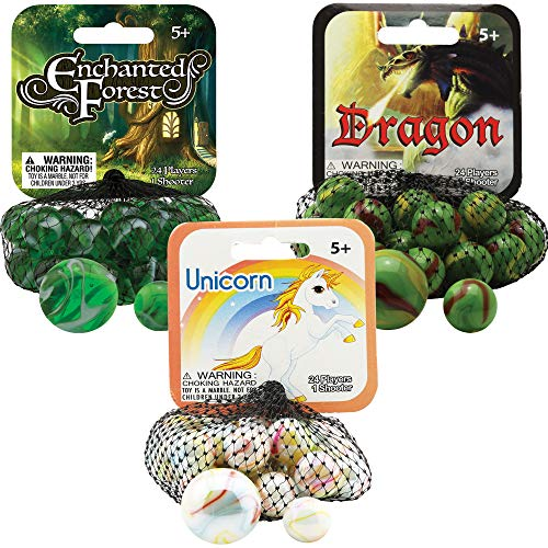 Mega Marbles 3 Pack - Enchanted Forrest, Dragon, & Unicorn Game Nets - Includes 1 Shooter Marble & 24 Player Marbles Per Net