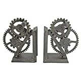 Design Toscano QH9631 Industrial Gear Steampunk Decor Bookends, 15 Inch, Set of Two, Multicolored