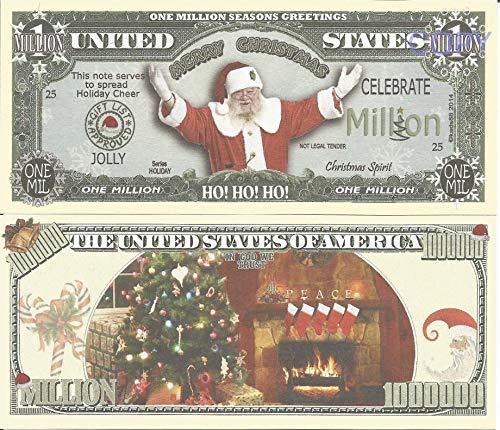 Novelty Dollar Santa Claus Father Christmas Seasons Greetings Million Dollar Bills x 2 Ho Ho Ho