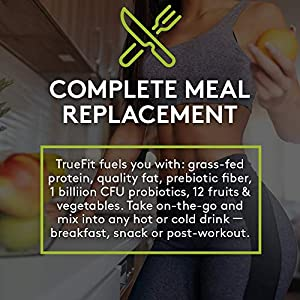 RSP TRUEFIT - Protein Powder Meal Replacement Shake for Weight Loss, Grass-Fed, Organic Real Food, Probiotics, MCT Oil, Non-GMO, Gluten Free, No Artificial Sweeteners, 2 LB Chocolate
