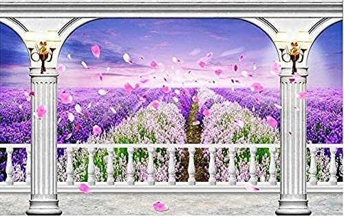 Tapete 3D Fototapeten Balkon Lavendelfeld Idyllische Landschaft Wohnzimmer Schlafzimmer TV Hintergrund Wanddekoration Bild Poster Foto-200×140cm(BxH)