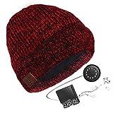 HK Unisex Bluetooth Winter Mütze - Music Headset Beanie Bluetooth mit Stereo Kopfhörern, Eingebautem Mik, Freisprechan (6h Laufzeit) - Bluetooth & Smartphone Kompatibel,redsoulweave