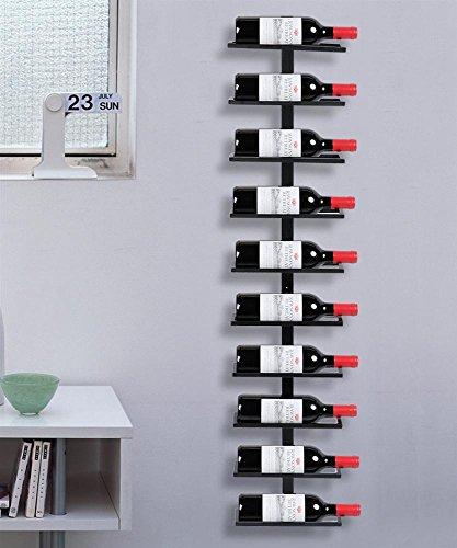 Yaheetech Weinregal Flaschenhalter Flaschenregal Aufbewahrungsregal für die Wand aus Metall 10 Flaschen, Schwarz