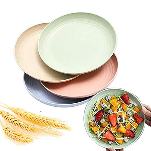 Juego de 4 platos de paja de trigo natural, para microondas, irrompibles, resistentes, 25,4 cm, bandeja de platos grandes, biodegradables para preparar cocina y sopa para niños