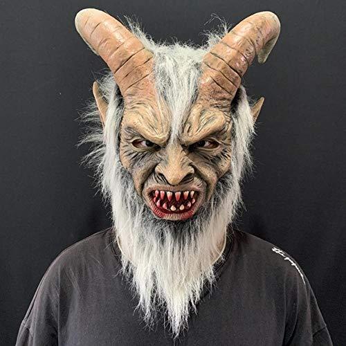 Meilijie Luzifer Cosplay Latex Masken Halloween Kostüm Scary Dämon Teufel Film Cosplay Horrible Horn Maske Erwachsene Party Requisiten, Luzifer Maske