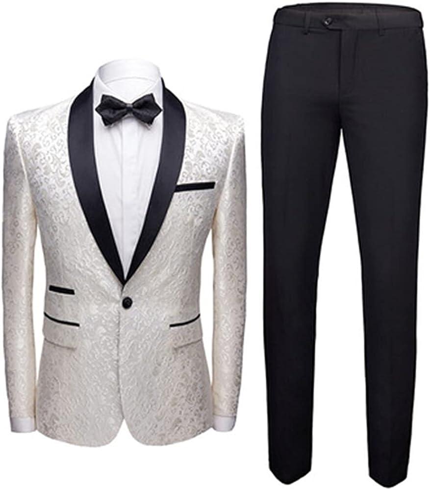 Men's Suits 2-Piece Classic Fit 1 Button Office Dress Suit Jacket Blazer & Pleated Pants Set