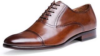 Kirabon Zapatos de Hombre, Vestido de Negocios, Zapatos de Inglaterra, Zapatos de Cuero, Suela Resistente al Desgaste, Zapatos cómodos de Encaje. (Color : Marrón, Size : 41)