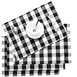 Nobildonna 18'x13' Plaid Checkered Placemats,Black & White Checker, Quality Thin and Durable Placemats for Dining Table Set of 4 (Black & White)