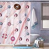 Duschvorhang ohne Marke, Schokoladen-Donuts & Lutscher, wasserdicht, mit 12 Haken, maschinenwaschbar, für Badezimmer-Dekoration, Polyester, 182,9 x 182,9 cm
